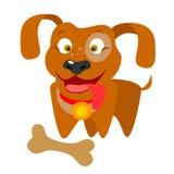 Hond met een been royalty-vrije illustratie