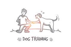 Hond opleidingsconcept Hand getrokken geïsoleerde vector vector illustratie