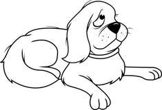 Hond pluizige droevige bw Royalty-vrije Stock Foto's