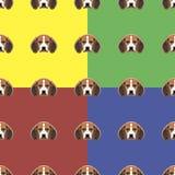 Hond rode, gele, blauwe en groene vectorachtergrond Naadloos patroon 4 in 1 Royalty-vrije Stock Afbeeldingen