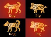 Hond, varken, puppy Symbolen van de Chinese horoscoop 2030, 2019 vector illustratie