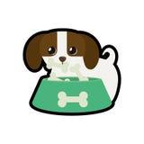 Hond weinig honds aanbiddelijke druk van het komvoedsel B vector illustratie