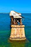 Старый железнодорожный мост на ключе Бахи Honda в ключах Флориды Стоковое Изображение