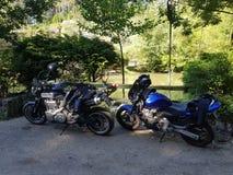 Honda bålgeting 600 och Yamaha MT-01 royaltyfri fotografi