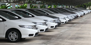Honda bilar i återförsäljaremateriel förbereder sig för försäljningar Royaltyfria Foton