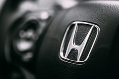 Honda Black Steering Wheel And Silver Star Logo Royalty Free Stock Images