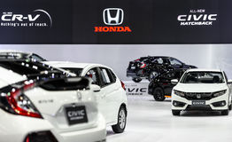 Honda booth. BANGKOK - MARCH 28 : Honda booth on display at The 38th Bangkok International Motor Show : Reach to The Planet of Technology on March 28, 2017 in Royalty Free Stock Photography