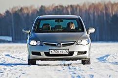 Honda car in Russia city Tyumen, 26 January 2012 Royalty Free Stock Photos