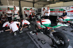 Honda Castrol CBR 1000 official racing team. Honda CBR 1000 - Honda Castrol Racing Team SBK in the world Superbike Championship SBK Box Royalty Free Stock Image