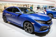 Honda Civic car. GENEVA, SWITZERLAND - MARCH 7, 2018: Honda Civic car showcased at the 88th Geneva International Motor Show royalty free stock photos