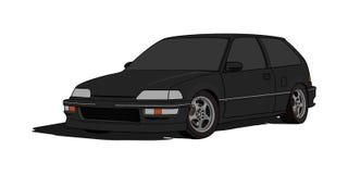 Honda Civic EF halvkombi i vektor stock illustrationer