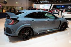Honda Civic Type R high performance car. BRUSSELS - JAN 10, 2018: Honda Civic Type R high performance car showcased at the Brussels Motor Show Royalty Free Stock Photography