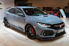 Honda Civic Type R high performance car. BRUSSELS - JAN 10, 2018: Honda Civic Type R high performance car showcased at the Brussels Motor Show Stock Photo