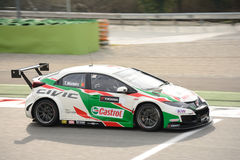 Honda Civic WTCC car at Monza. Castrol Honda World Touring Car Team is testing the 2017 Civic WTCC with Tiago Monteiro at the Autodromo Nazionale Monza Royalty Free Stock Photography