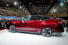 Honda Clarity FCV. Side view,at the 44th Tokyo motor Show 2015 in Japan.The new  is an hydrogen fuel cell family car with five-seat stock image