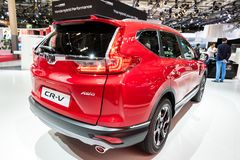 Honda CR-V hybrid SUV car. PARIS - OCT 3, 2018: Honda CR-V hybrid SUV car showcased at the Paris Motor Show royalty free stock photos