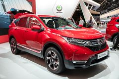 Honda CR-V hybrid SUV car. PARIS - OCT 3, 2018: Honda CR-V hybrid SUV car showcased at the Paris Motor Show royalty free stock images