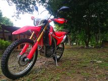 Honda CRF 250 in Forest. Test drive motorcycle honda crf 250 extreme bike in the forest at maehongsorn Thailand Stock Images