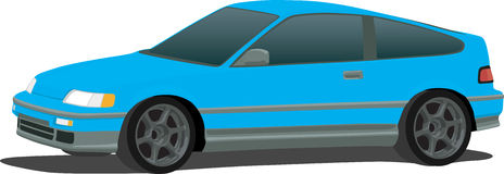 Honda CRX Compact Car. A Vector . eps illustration of a Honda CRX compact hatchback. Saved in layers for easy editing. See my portfolio for more automotive royalty free illustration