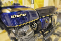 HONDA 750 FOUR VINTAGE motorcycle AND LOGO IN MUEIUM Stock Photo