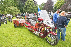 Honda Goldring. Tartan decorated Honda Goldring motorbike with trailer at Brodie Castle Vintage Wheels Club rally held on 11 th august  2013 Stock Photography