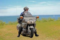 Honda goldwing motorcykelman Arkivbilder