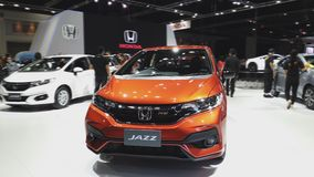 Honda Jazz car on display at The 35th Thailand International Motor Expo. Nonthaburi - November 28: Honda Jazz car on display at The 35th Thailand International stock video