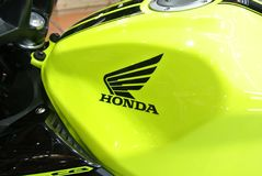 Honda logos at the motorcycle body. KUALA LUMPUR, MALAYSIA -JULY 29, 2017: Honda logos at the motorcycle body. Honda is one of the famous motorcycle manufacture stock photography