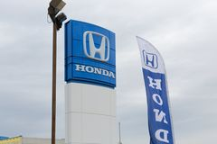 Honda Motor Co. Logo and Sign. Philadelphia, Pennsylvania, September 8, 2018:Honda Motor Co. Logo and Sign. Honda Manufactures Among the Most Reliable Cars in stock photo