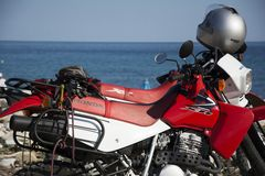 Honda motorbikes on the beach Stock Image