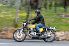 Honda Motorcycle on country road Royalty Free Stock Image