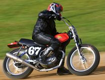 Honda motorcycle event. Motorcycle races on the dirt track at the pro motorcycle racing event on the dirt oval track speedway, Ashland County, Ohio, United Royalty Free Stock Photos