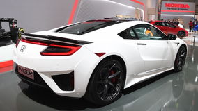 Honda NSX Hybrid sports car rear view stock video footage