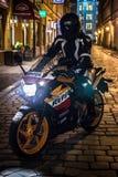 Honda Repsol på natten i Wroclaw Fotografering för Bildbyråer