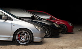 3 honda`s type r. Three cars honda`s type r in three different colors Royalty Free Stock Image