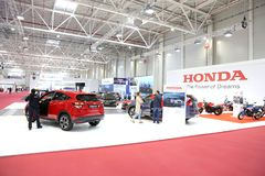 Honda stand at SIAB 2018, Romexpo, Bucharest, Romania. The international automobile saloon in Bucharest Royalty Free Stock Photo