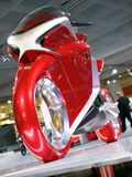 Honda V4 Concept motorcycle at Intermot. New concept red bike on INTERMOT 2008 exhibition in Cologne, Germany Royalty Free Stock Photo