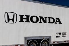 Indianapolis - Circa March 2018: Honda Verizon Indycar Racing Hauling Truck. HPD is a subsidiary of American Honda Motor I. Honda Verizon Indycar Racing Hauling Stock Photography