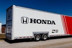 Indianapolis - Circa March 2018: Honda Verizon Indycar Racing Hauling Truck. HPD is a subsidiary of American Honda Motor II. Honda Verizon Indycar Racing Hauling Stock Photos
