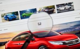 Honda web page Stock Photo