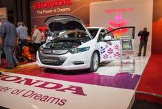Honda wglądu hybrydowy elektryczny samochód przedstawiający na Tel Aviv Motorowym przedstawieniu fotografia royalty free
