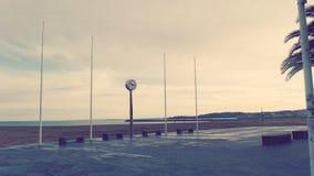 Hondarribia Basque Country Beach Clock. Hondarribia Fuenterrabia border France Spain seaside promenade Stock Image