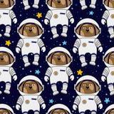 Hondastronaut en sterren in ruimte, naadloos patroon Stock Foto's