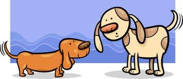 Honden die staartenbeeldverhaal zwiepen met Stock Foto's