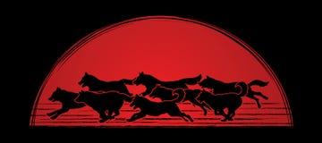 8 honden grafisch lopen stock illustratie