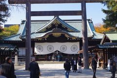 Honden or main hall at Yasukuni Shrine. Built in 1872 and refurbished in 1989, it is where the shrine`s priests perform Shinto rituals. The building is stock photos