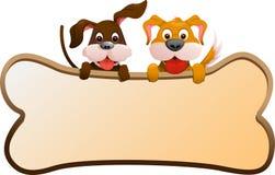 Honden met banner Stock Foto's