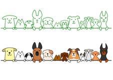 Honden op een rij met exemplaarruimte stock illustratie