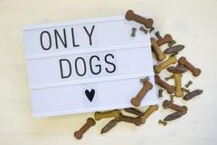 Honden slechts op een lightbox worden geschreven die Royalty-vrije Stock Fotografie