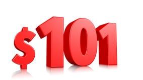 101$ honderd één prijssymbool de rode 3d tekst geeft met dollarteken terug op witte achtergrond royalty-vrije illustratie